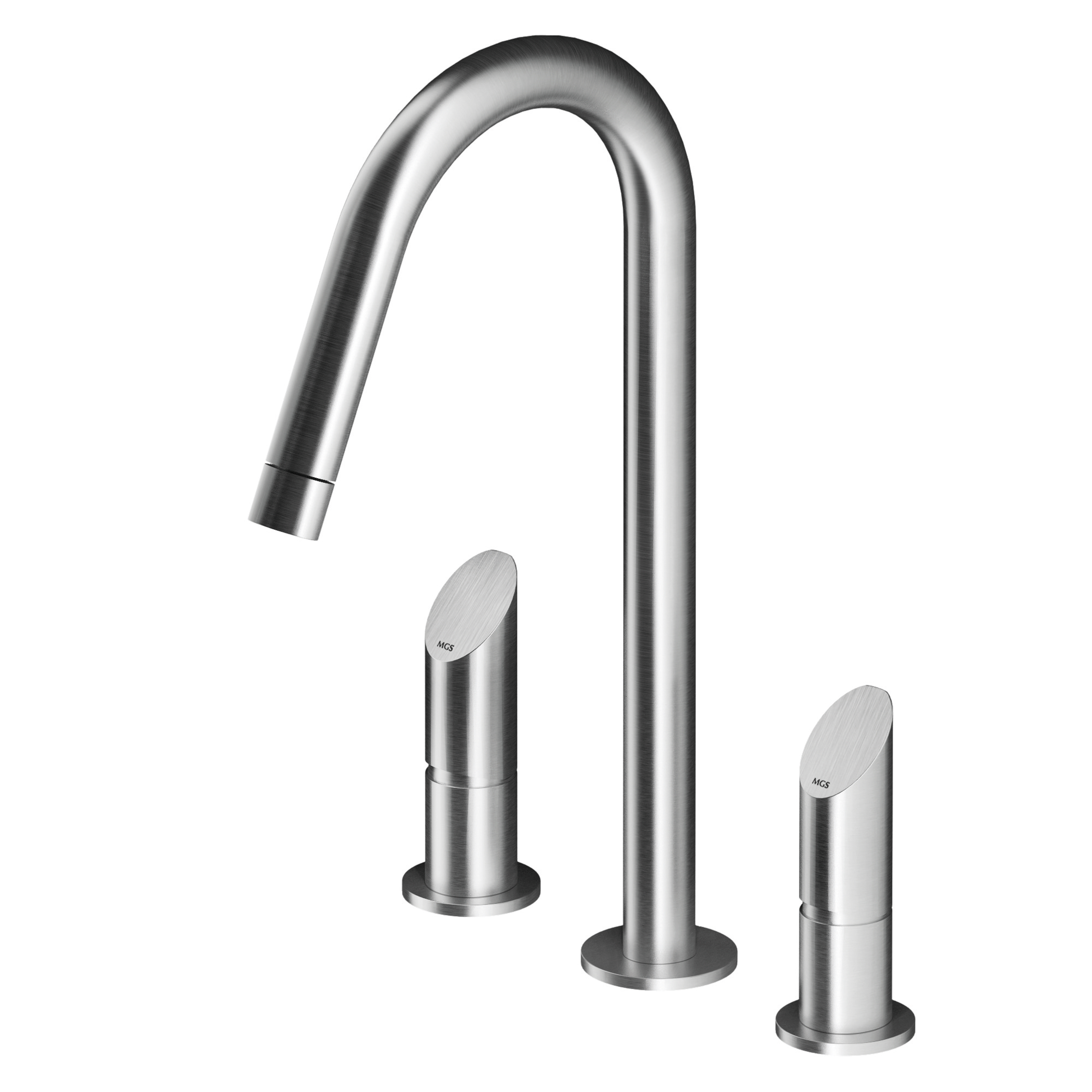 MGS CB200 Widespread Faucet with High Spout - matte stainless