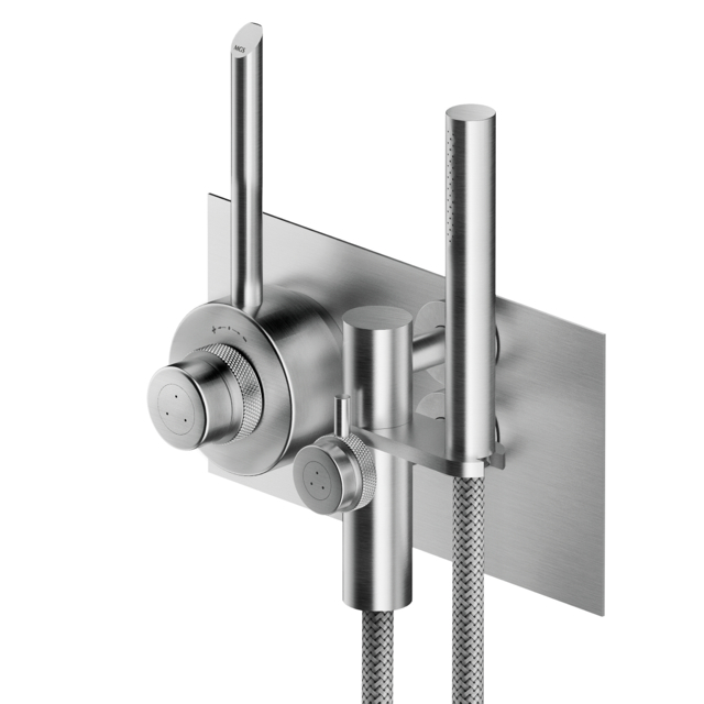 MGS CB432 Built In Thermostatic Shower with Hand Shower and Diverter - matte stainless
