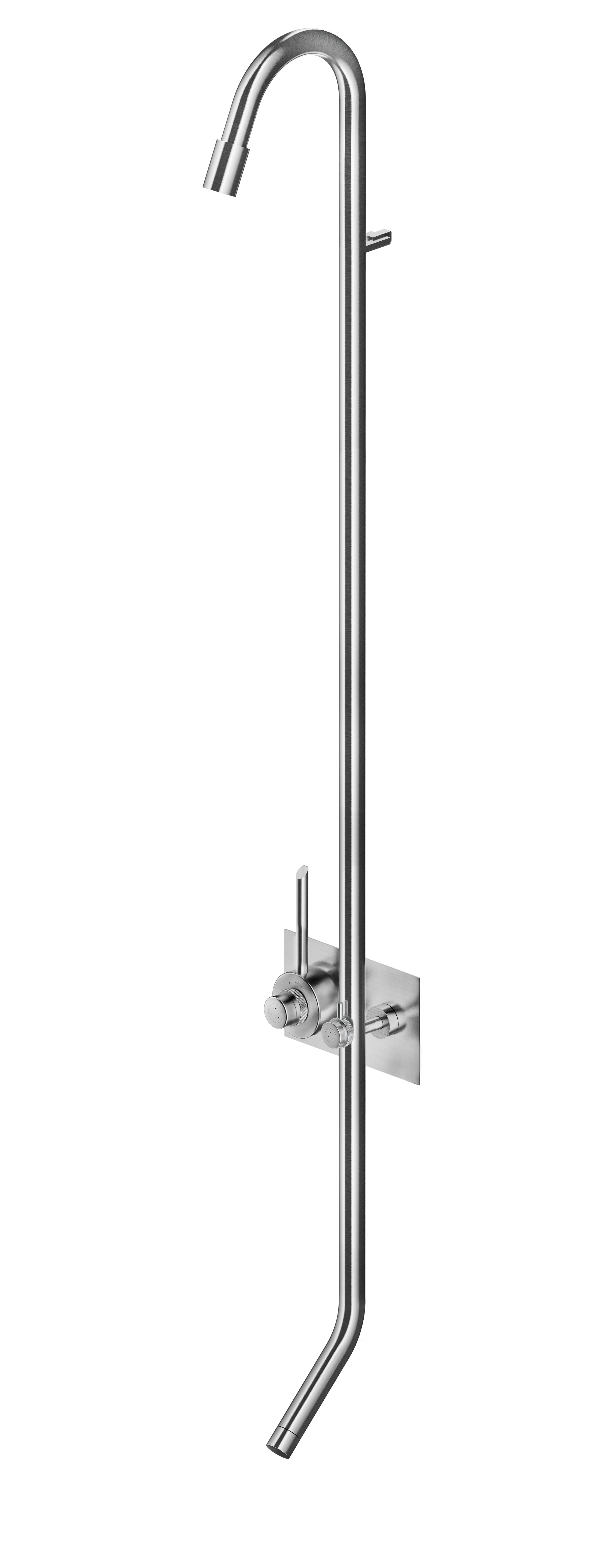 MGS CB447 Thermostatic Shower Column with Foot Wash - matte stainless