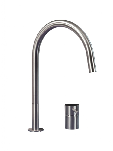 MGS F2RE 2 Hole Mixer with R Spout - matte stainless
