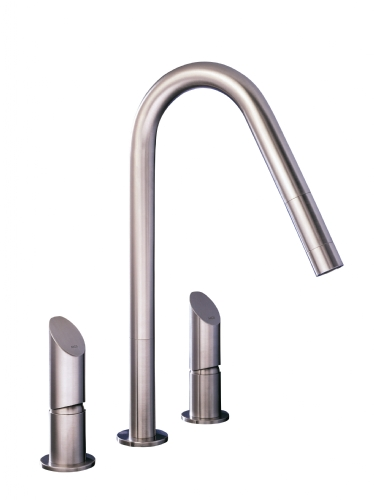 MGS KWP 3 Hole Widespread Faucet with Pull Out Spout - matte stainless
