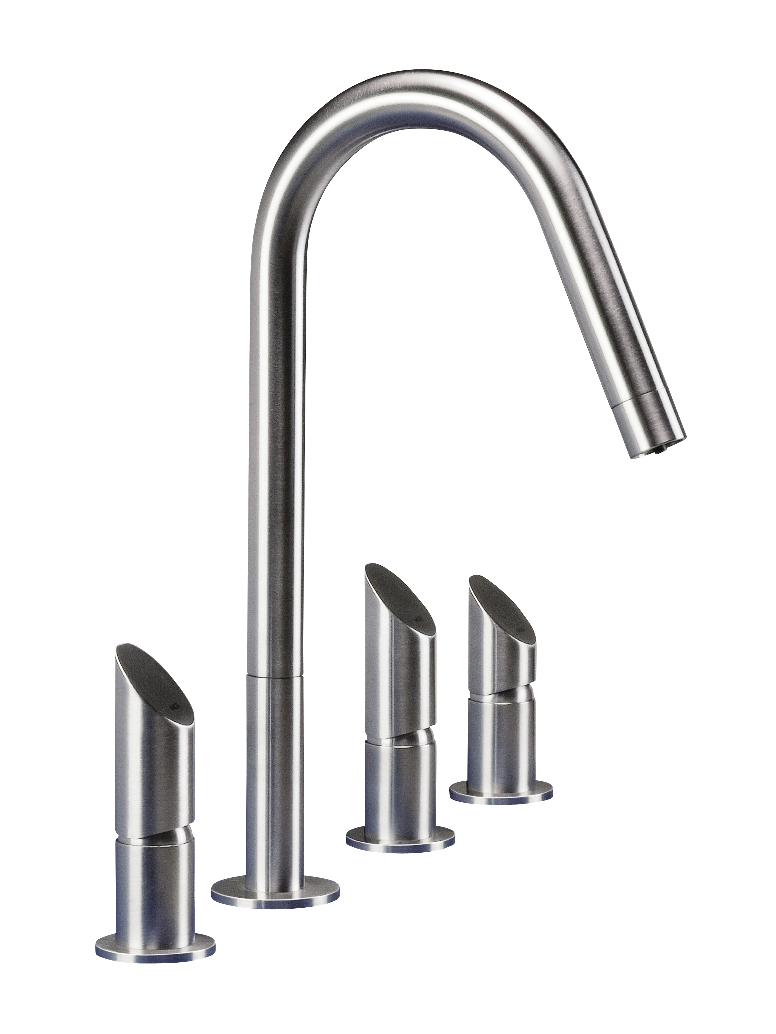 MGS T45 DF 4 Hole Widespread Faucet - matte stainless