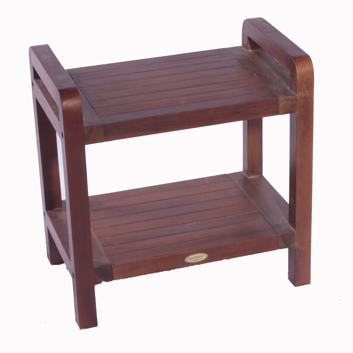 DT108 Classic Teak Shower Bench with Shelf and Arms