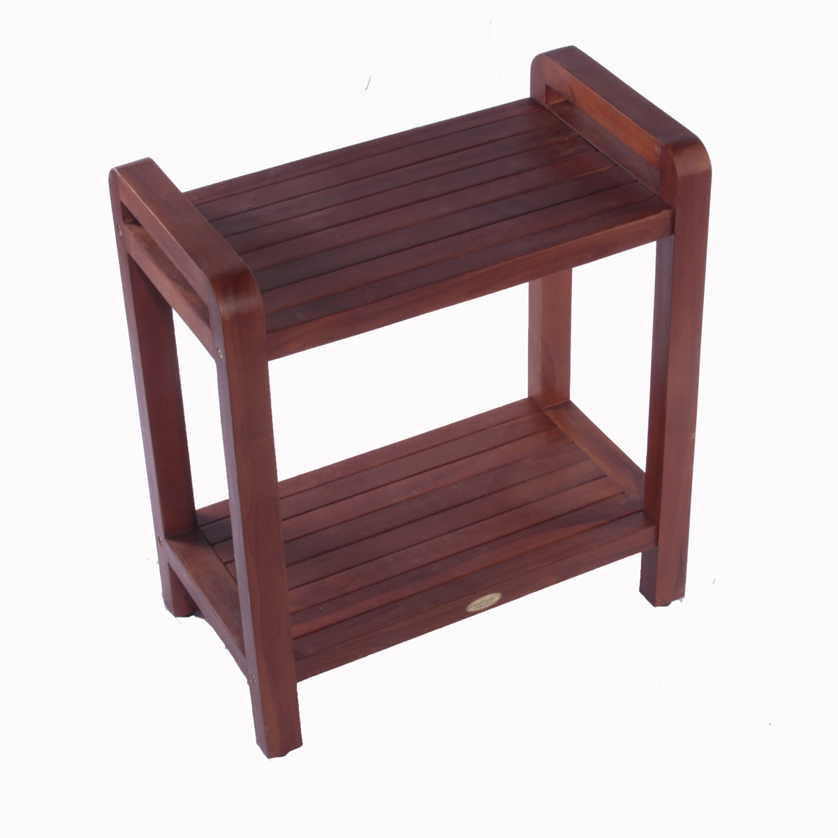 "DT109 24"" Classic Teak Extended Shower Bench with Shelf and Arms"