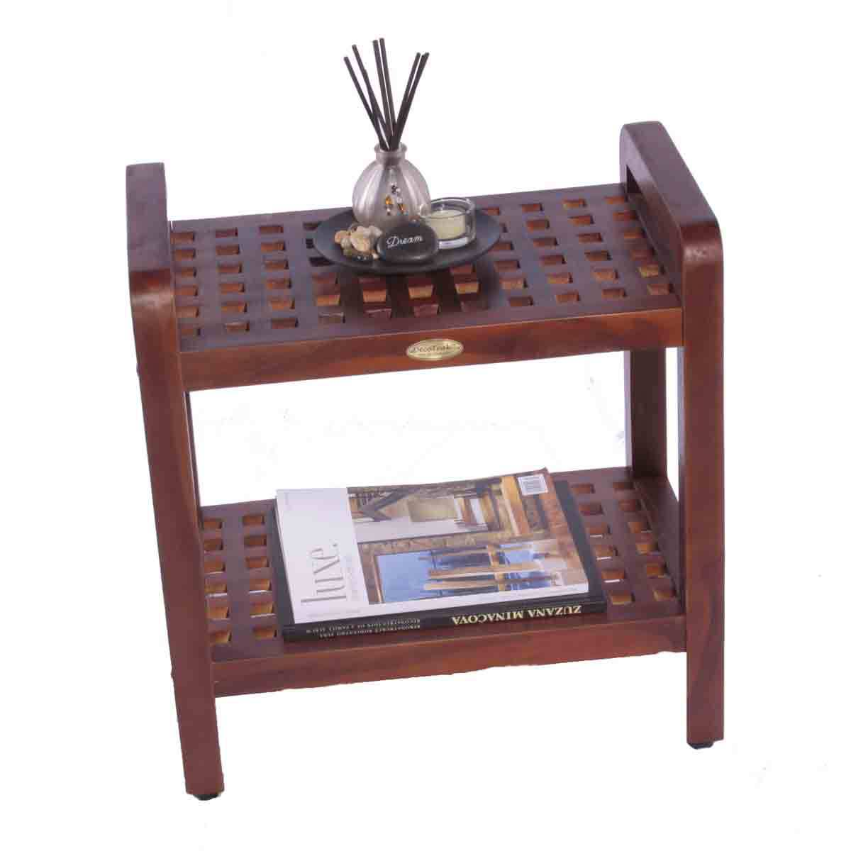 "DT112 18"" Teak Shower Stool with Shelf and Lift Aide Arms"