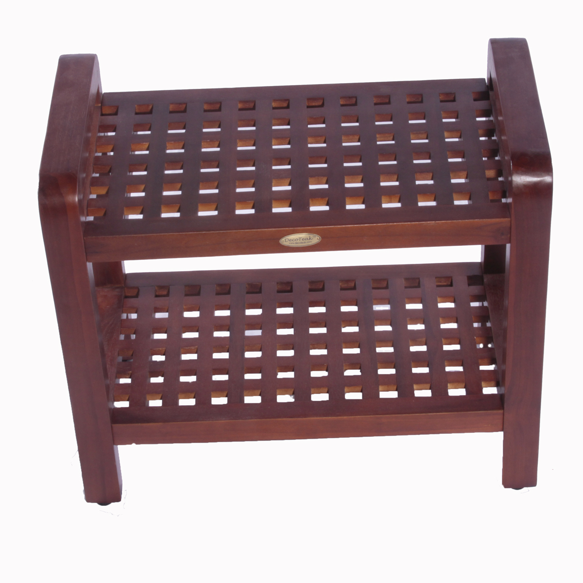 "DT113 24"" Teak Shower Stool with Shelf and Lift Aide Arms"