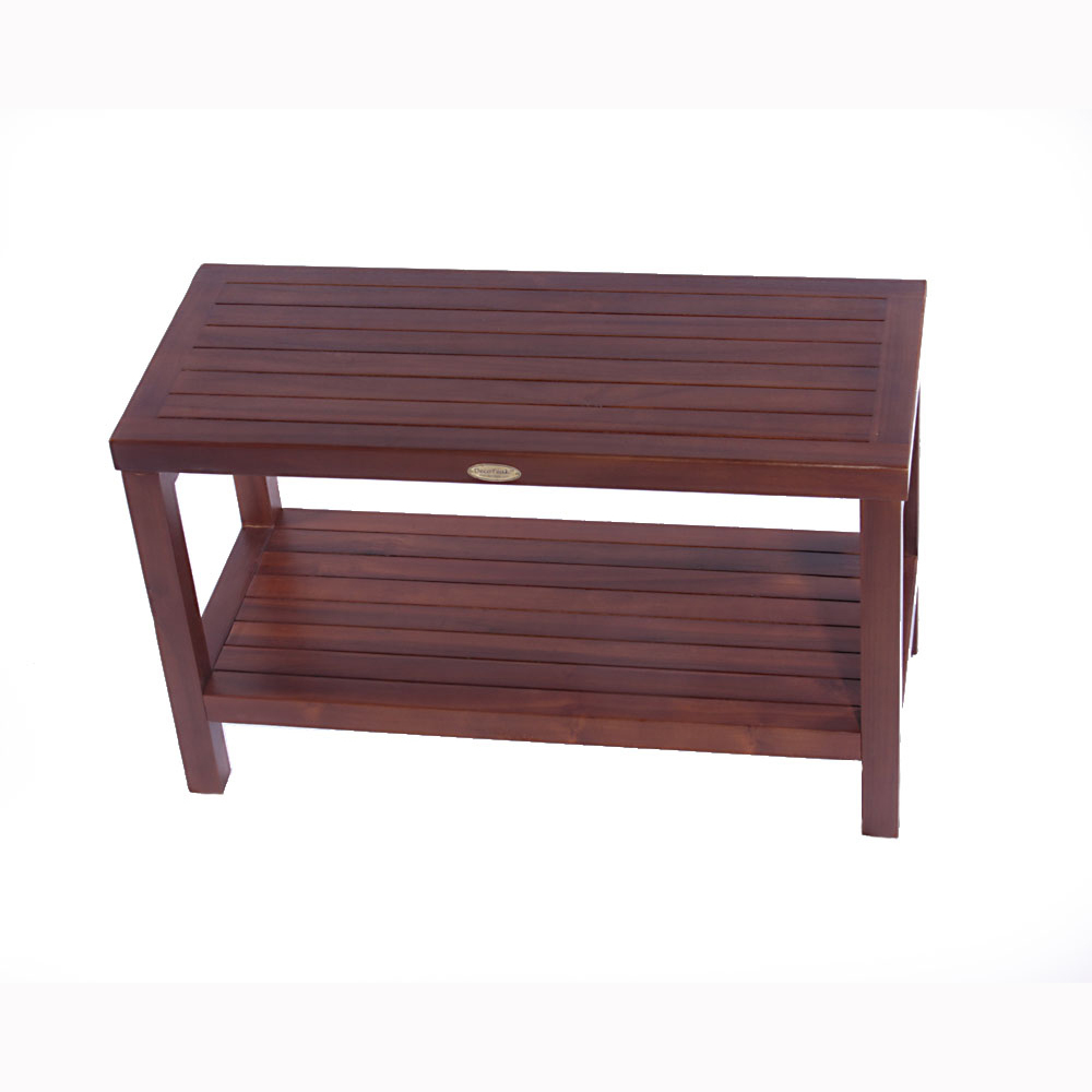 "DT116 30"" Classic Teak Shower Bench with Shelf"