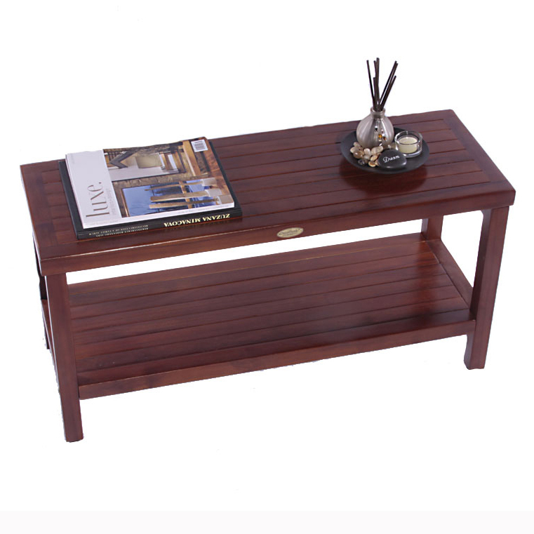 "DT117 35"" Classic Teak Shower Bench with Shelf"