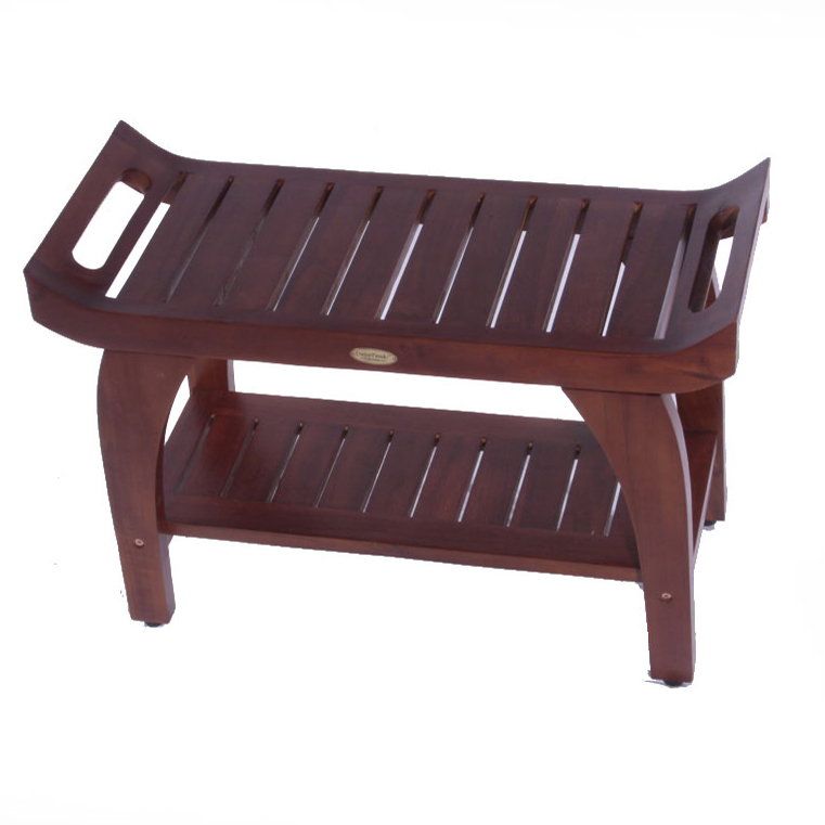"DT123 30"" Teak Shower Bench with Shelf"