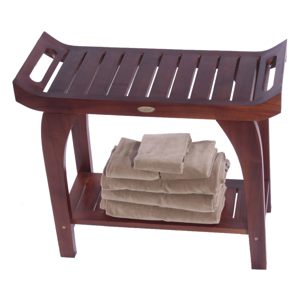"DT124 30"" Teak Shower Bench with Extended Height"