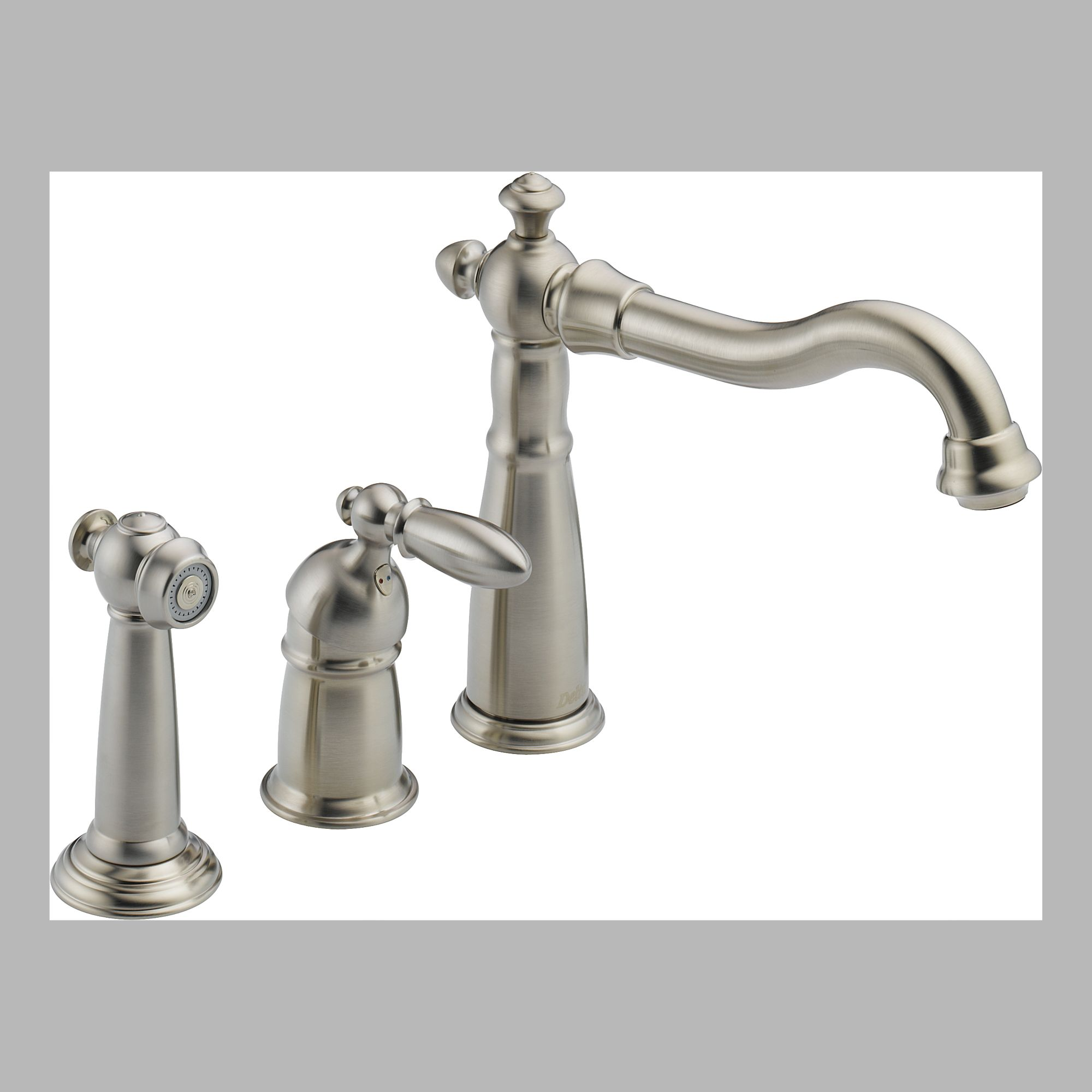 Delta 155-SS-DST Single Handle Kitchen Faucet with Spray