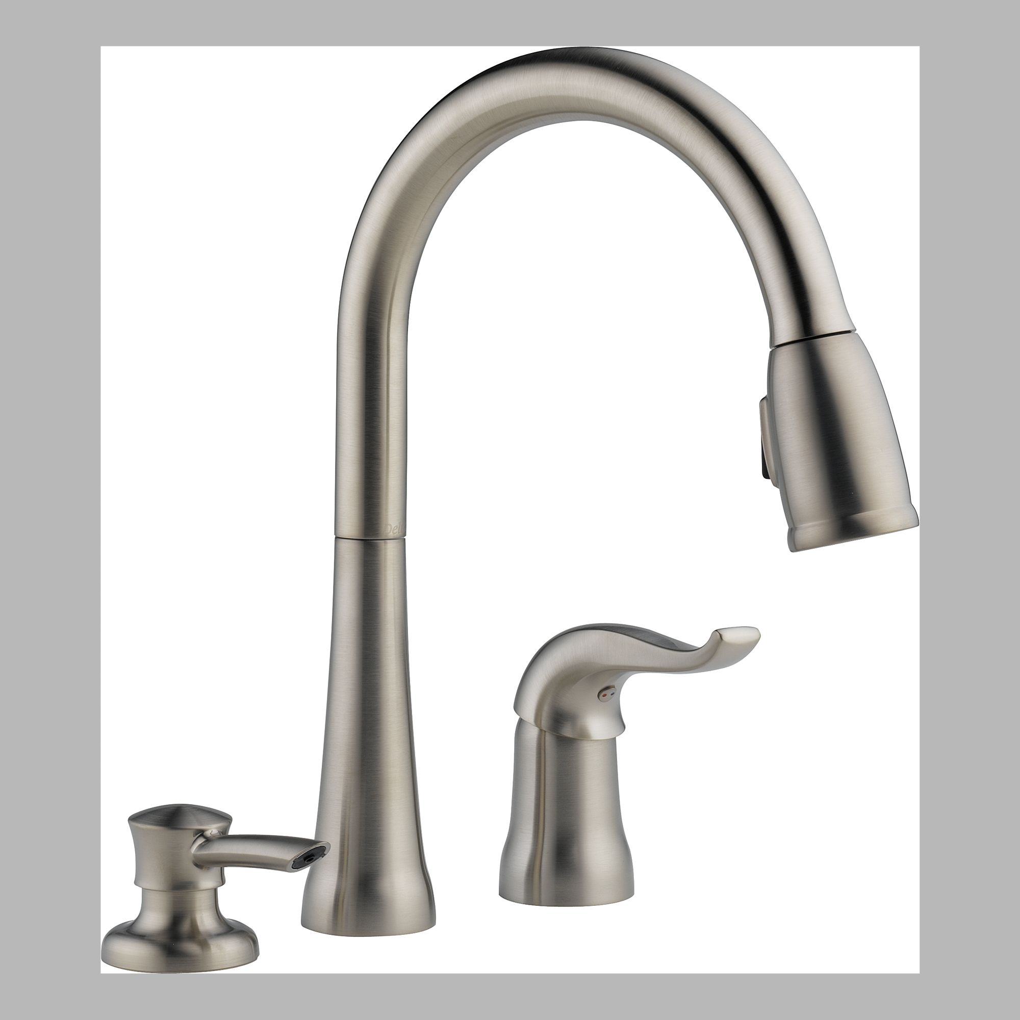 Delta 16970-SSSD-DST Single Handle Pull Down Kitchen Faucet with Soap Dispenser