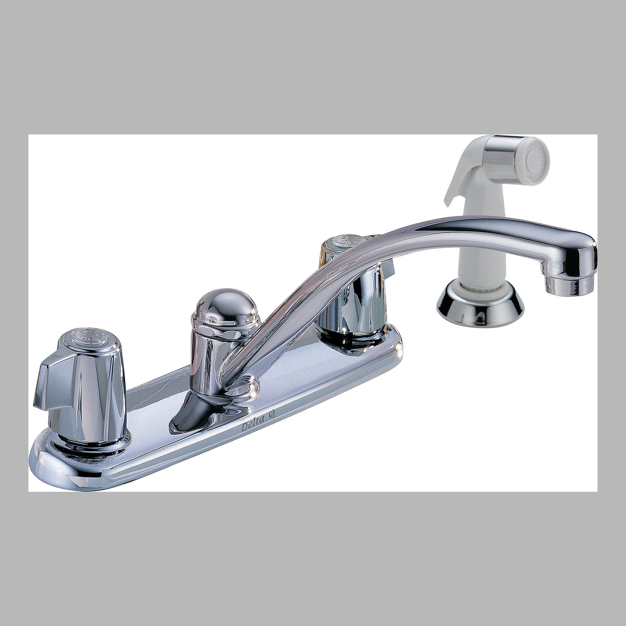 Delta 2400LF Two Handle Kitchen Faucet with Spray
