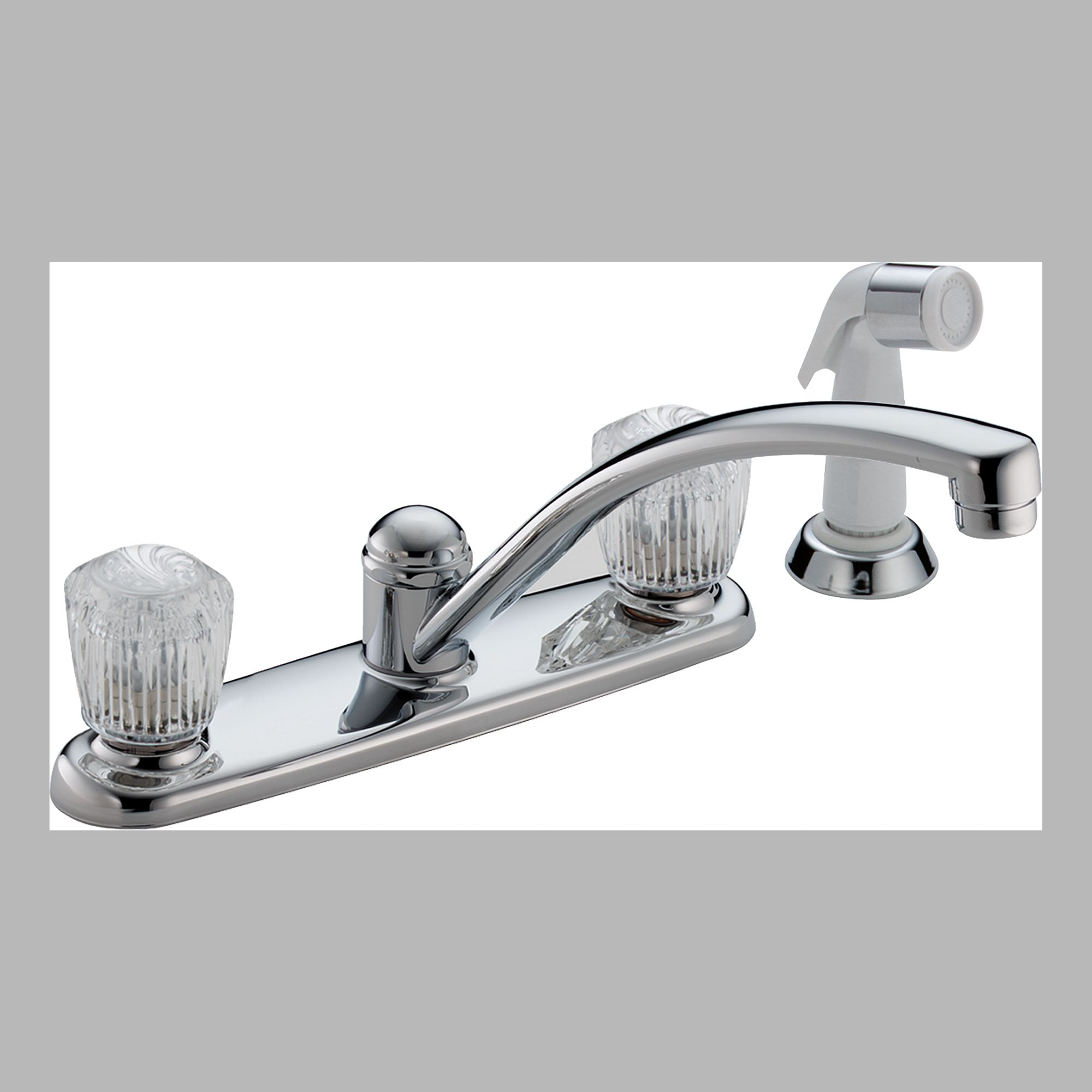 Delta 2402LF Two Handle Kitchen Faucet with Spray