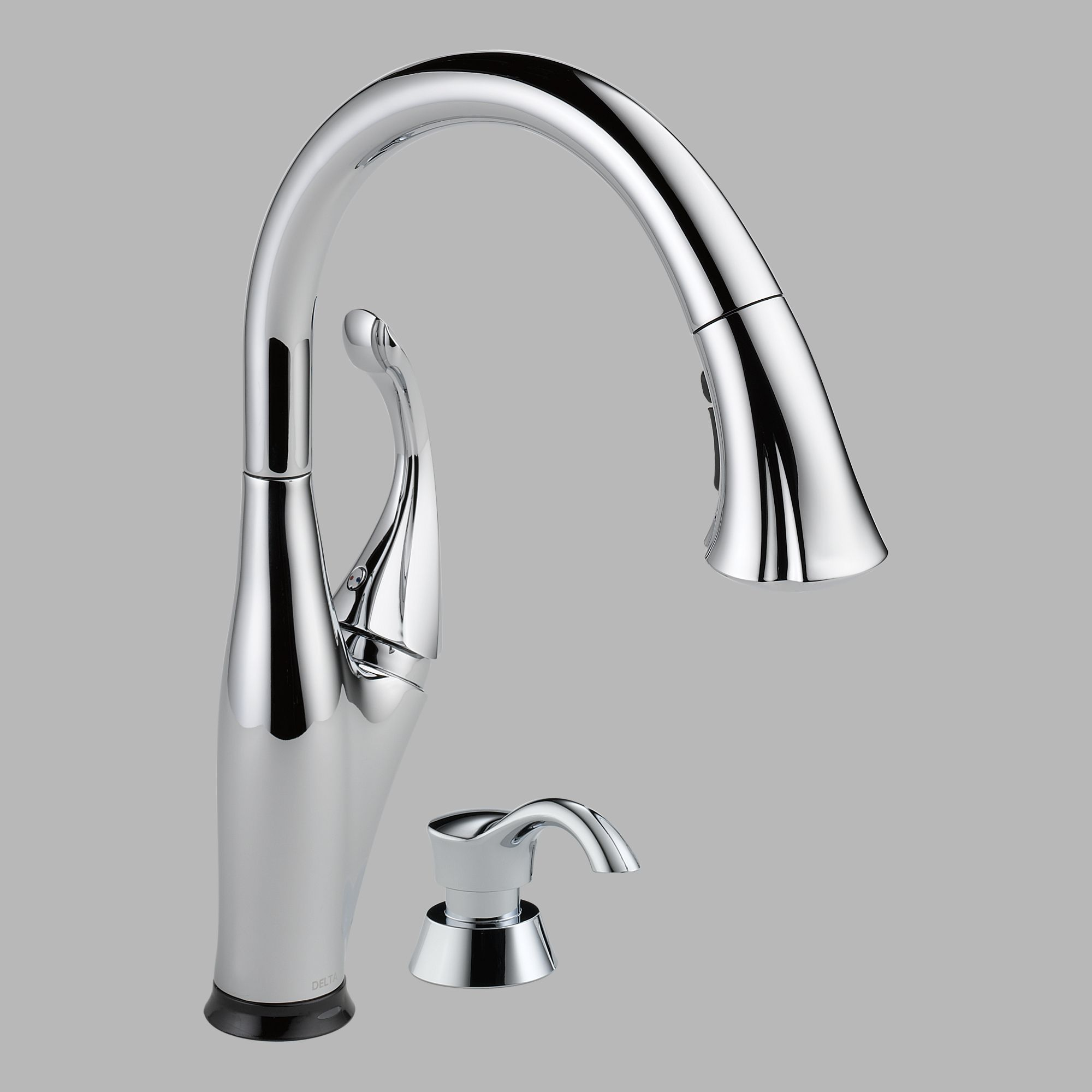 Delta 9192T-SD-DST Single Handle Pull Down Kitchen Faucet with Soap Dispenser
