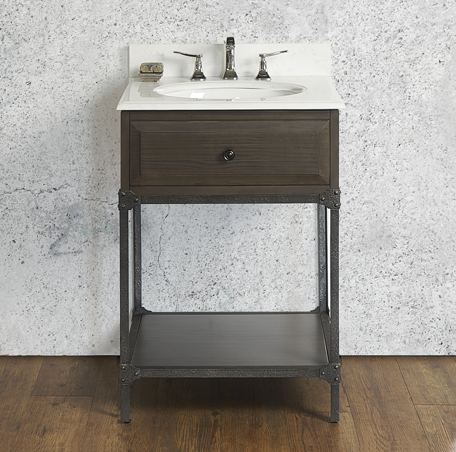 "VH24 Fairmont Toledo 24"" Open Shelf Vanity - Driftwood Gray"