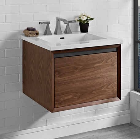 "Fairmont 1505-WV24 M4 24"" Wall Mount Vanity - Natural Walnut"