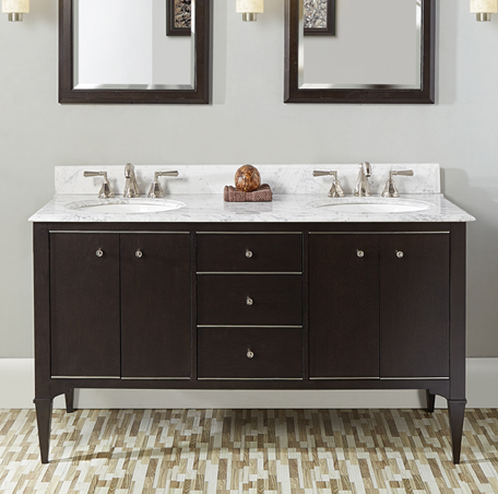 "Fairmont 1511-V6021DA Charlottesville 60"" Double Bowl Vanity Door - Vintage Black"