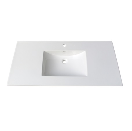 "Fairmont TC-4922W1 Tops 49"" White Ceramic Vanity Sink Top with Integral Bowl - Single Hole"
