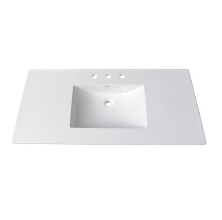 "Fairmont TC-4922W8 Tops 49"" White Ceramic Vanity Sink Top with Integral Bowl - 8"" Spread"