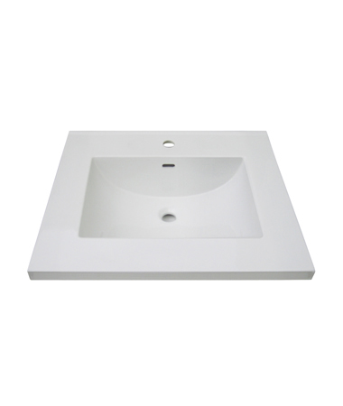 "Fairmont TC3-2522W1 Single Hole 25"" Ceramic Top with Inegral Bowl - White"