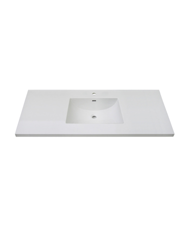 "Fairmont TC3-4922W1 Single Hole 49"" Ceramic Top with Inegral Bowl - White"