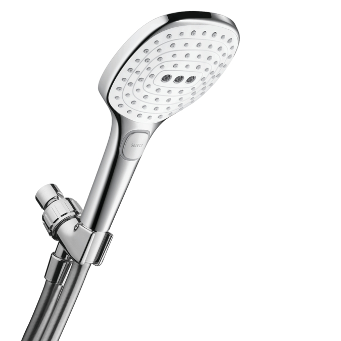 Hansgrohe 04520400 2.0 GPM Raindance Select E 120 Air Green 3 Jet Hand Shower Set - White/Chrome