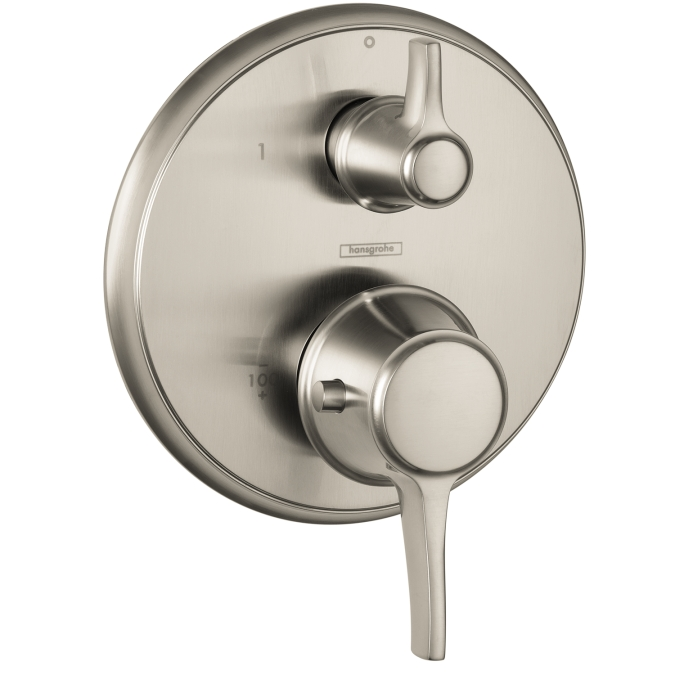 Hansgrohe 15753821 C Thermostatic Trim with Volume Control and Diverter - Brushed Nickel