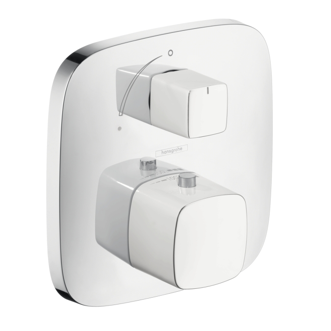 Hansgrohe 15775401 Puravida Thermostatic Trim with Volume Control - White/Chrome