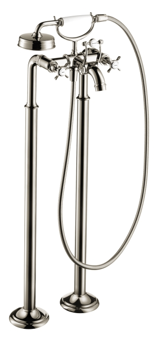 Hansgrohe 16547831 Axor Montreux Freestanding 2 Handle Tub Filler Trim with Cross Handle - Polished Nickel