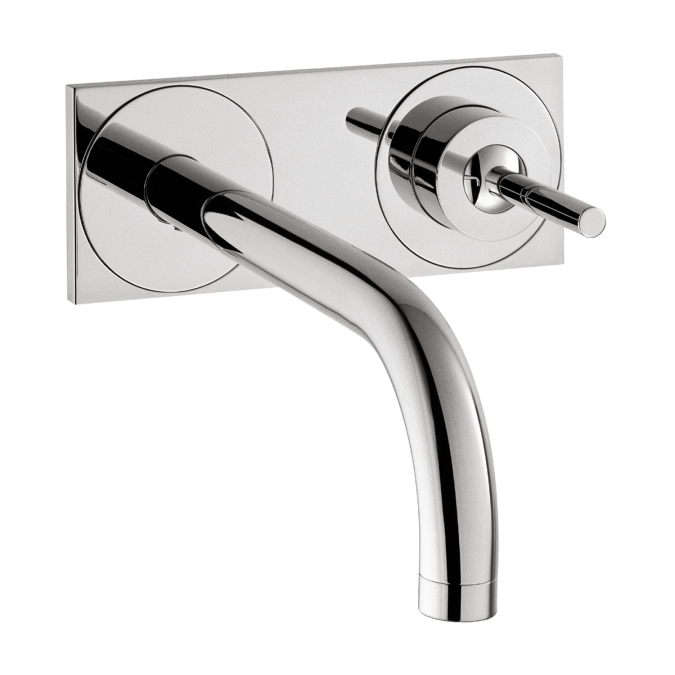 Hansgrohe 38117001 Axor Uno Wall Mounted Single Handle Trim Faucet with Base Plate - Chrome