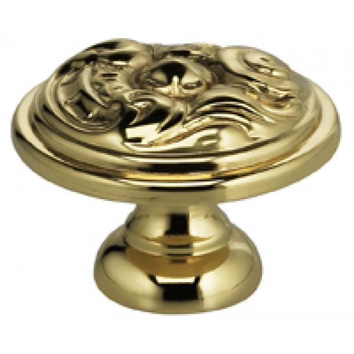 "Omnia 9120/25 Cabinet Knob 1"" dia - Polished Brass"