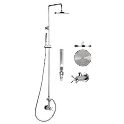 "Outdoor Shower CAP-WMC-041AS Stainless Steel Wall Mounted Shower with 8"" Disk Shower Head and Hand Spray"