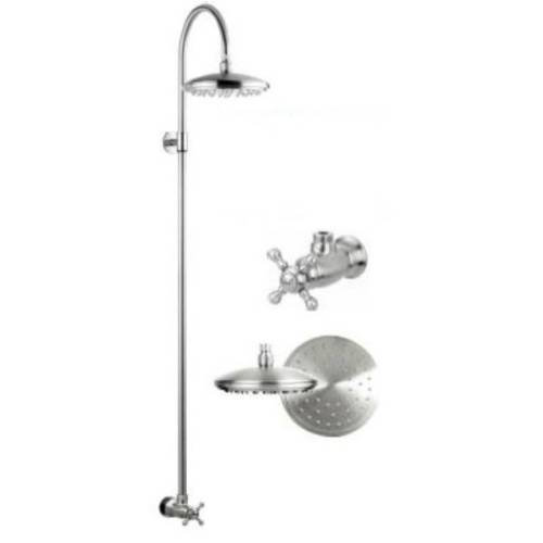 "Outdoor Shower CAP-WMC-111HBS Stainless Steel Wall Mounted Shower with 8"" Shower Head"