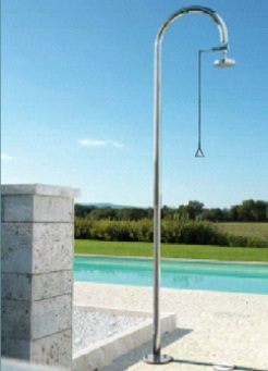 Outdoor Shower FTA-C50-316-PCV Single Line Pull Chain Shower Unit with Shower Head