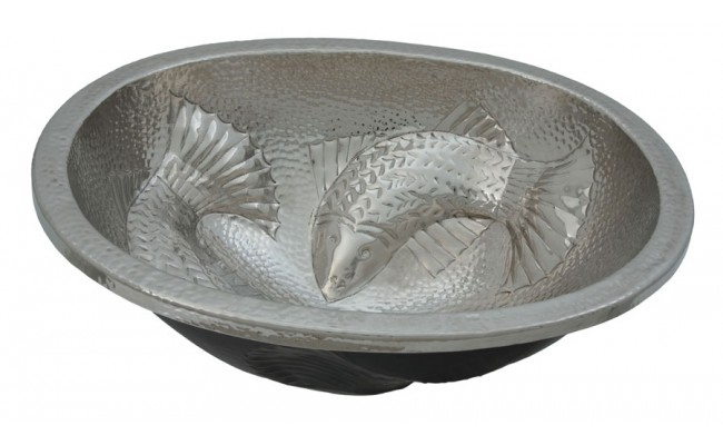 Thompson Traders 23-1221-C Moon Wrasse Oval Fish Design Hand Crafted Hammered Nickel Bath Sink