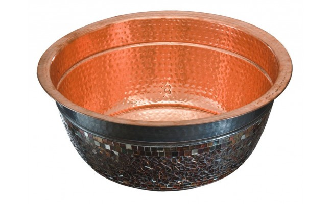Thompson Traders 23-1222-C Murano Round Hand Crafted Copper Bath Sink and Glass Mosaic