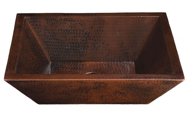 Thompson Traders BPV-1914BC Diego II Rectangular Double Wall Hand Crafted Black Copper Bath Sink