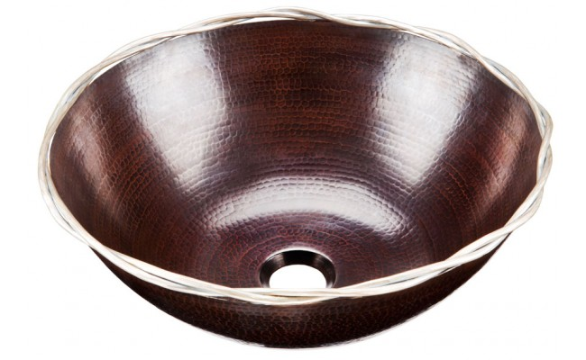Thompson Traders BRV-15625BC Roma Round Vessel Bowl Black Copper Bath Sink