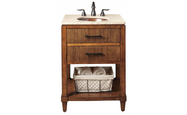 Thompson Traders BV-3424 Provence Wood Vanity with Wheatfield Granite and Black Copper Sink