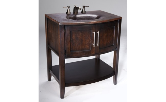 Thompson Traders BV-3430 Sheffield Wood Vanity with Kashmir White Granite and Black Copper Sink