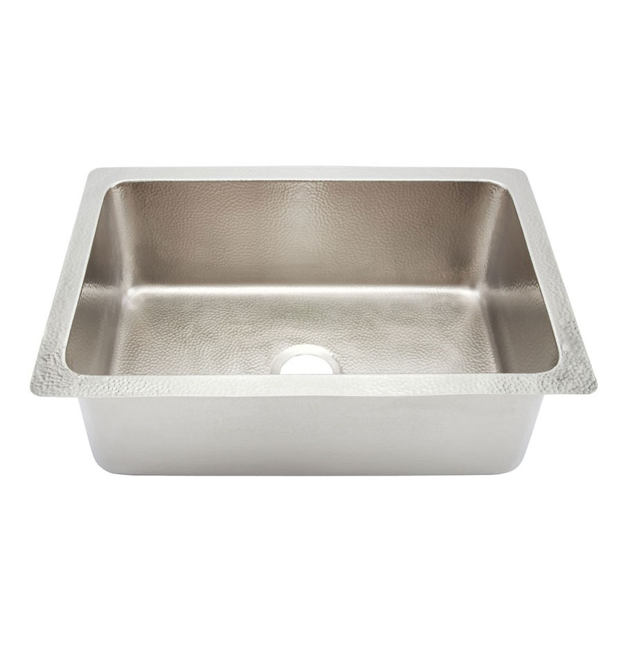 Thompson Traders KSU-3020BRN Pisa Single Bowl Hand Hammered Nickel Copper Sink