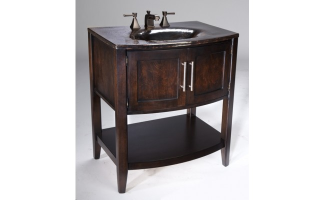 Thompson Traders VT-BN Verisimo Wood Vanity with Handcrafted Integrated Black Nickel Sink