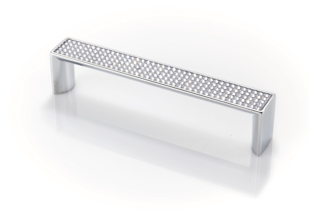 "Topex Hardware M1880B128CRLSWA Crystal Cabinet Pull 5.03"" (C-C) with Small Round Crystals - Chrome"